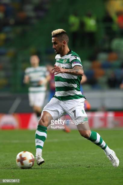 Sporting's midfielder Ruben Ribeiro from Portugal in action during the UEFA Europa League round of 16 1st leg football match Sporting CP vs Viktoria...