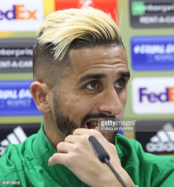 Sporting's midfielder Ruben Ribeiro gives a press conference in Astana on February 14 2018 on the eve of the UEFA Europa League round of 32 first leg...