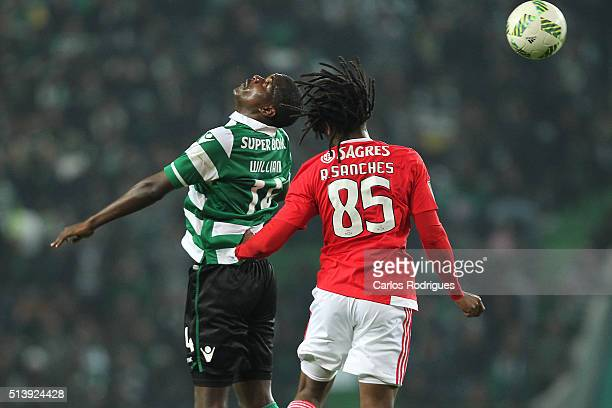 Sporting's midfielder William Carvalho vies with Benfica's midfielder Renato Sanches during the match between Sporting CP and SL Benfica for the...