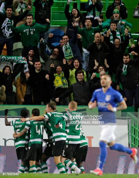 Sportings players celebrate after scoring during the Portuguese league football match between Sporting CP and CD Feirense at the Jose Alvalade...