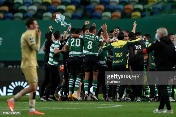 Sporting's players celebrate the Portuguese League football title after the match against Boavista FC at Jose Alvalade stadium in Lisbon, Portugal on...