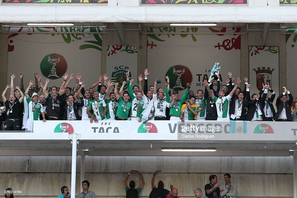 Sporting's players celebrates winning the Portuguese Cup during the Portuguese Cup Final between Sporting CP and SC Braga at Estadio Nacional on May 31, 2015 in Oeiras, Portugal.