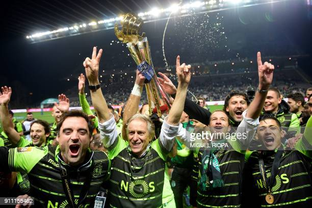 TOPSHOT Sporting's Portuguese coach Jorge Jesus celebrates after winning the Portuguese Cup final football match between Vitoria FC and Sporting CP...