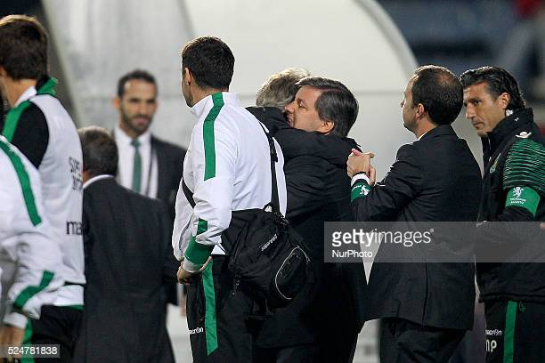 Sporting's Portuguese coach Jorge Jesus celebrates the victory with Sporting's President Bruno de Carvalho during the Premier League 2015/16 match...