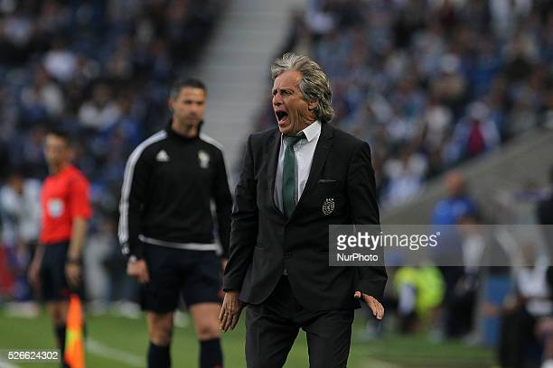 Sporting's Portuguese coach Jorge Jesus during the Premier League 2015/16 match between FC Porto and Sporting CP at Drag��o Stadium in Porto on April...