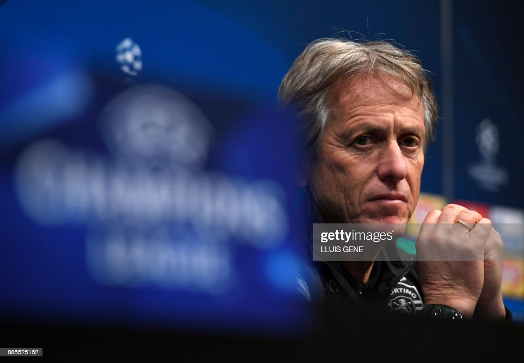 Sporting's Portuguese coach Jorge Jesus gives a press conference at the Camp Nou stadium in Barcelona on December 4, 2017, on the eve of the Champions League football match group D FC Barcelona vs Sporting CP. /