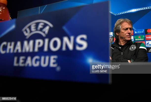 Sporting's Portuguese coach Jorge Jesus gives a press conference at the Camp Nou stadium in Barcelona on December 4 on the eve of the Champions...
