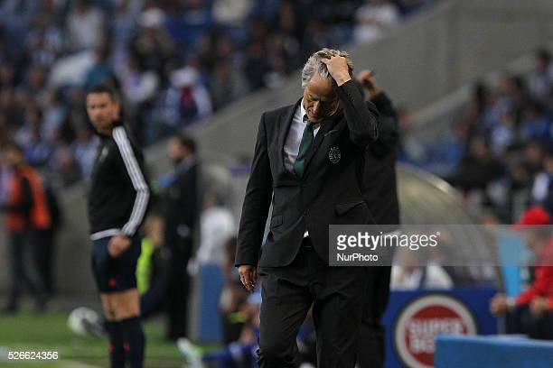 Sporting's Portuguese coach Jorge Jesus reacts during the Premier League 2015/16 match between FC Porto and Sporting CP at Drag��o Stadium in Porto...