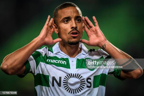 Sporting's Portuguese defender Bruno Gaspar celebrates a goal during the Portuguese League football match between Sporting CP and OS Belenenses at...