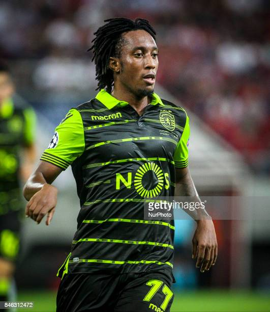 Sporting's Portuguese forward Gelson Martins celebrates after scoring a goal during the UEFA Champions League Group D match between Olympiacos and...