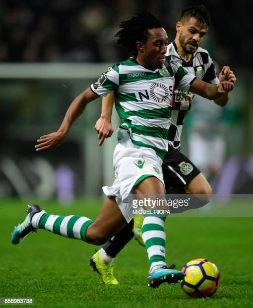 Sporting's Portuguese forward Gelson Martins vies with Boavista's Portuguese defender Talocha during the Portuguese league football match between...