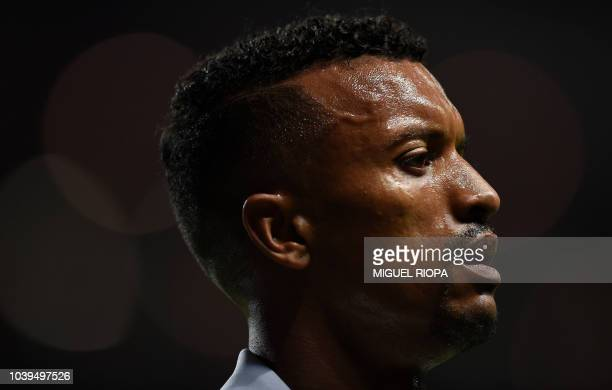 Sporting's Portuguese forward Nani reacts during the Portuguese league football match between SC Braga and Sporting CP at the Municipal stadium of...