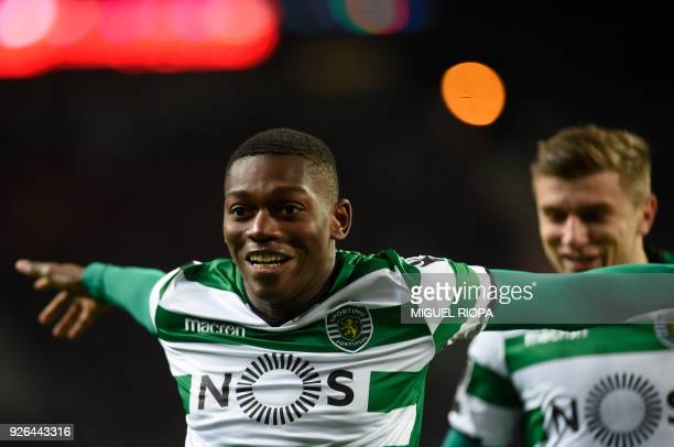 Sporting's Portuguese forward Rafael Leao celebrates a goal during the Portuguese league football match FC Porto against Sporting CP at the Dragao...