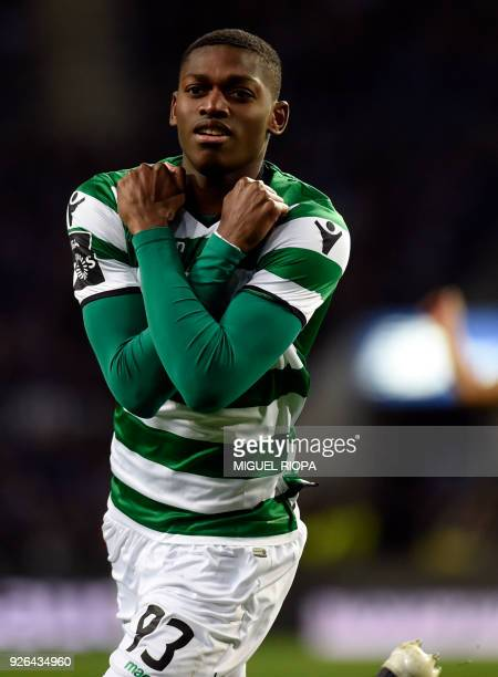 Sporting's Portuguese forward Rafael Leao celebrates after scoring a goal during the Portuguese league football match FC Porto against Sporting CP at...
