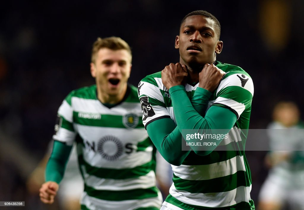 Sporting's Portuguese forward Rafael Leao celebrates after scoring a goal during the Portuguese league football match FC Porto against Sporting CP at the Dragao stadium in Porto on March 02, 2018. /