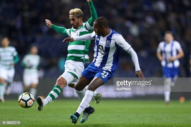 Sporting's Portuguese forward Ruben Ribeiro vies with Porto's Portuguese defender Ricardo Pereira during the Portuguese Cup 2017/18 match between FC...