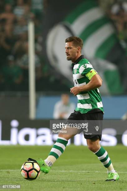 Sporting's Portuguese midfielder Adrien Silva in action during the Portuguese League football match Sporting CP vs SL Benfica at the Alvadade stadium...