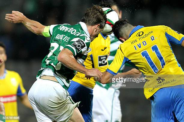 Sporting's Portuguese midfielder Adrien Silva in action with Arouca's Portuguese forward Ivo Rodrigues during the Premier League 2015/16 match...