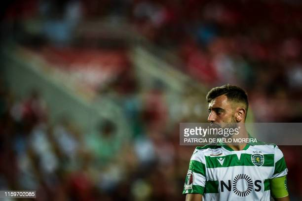 Sporting's Portuguese midfielder Bruno Fernandes looks on during the Portugal's Candido de Oliveira Super Cup final football match between SL Benfica...
