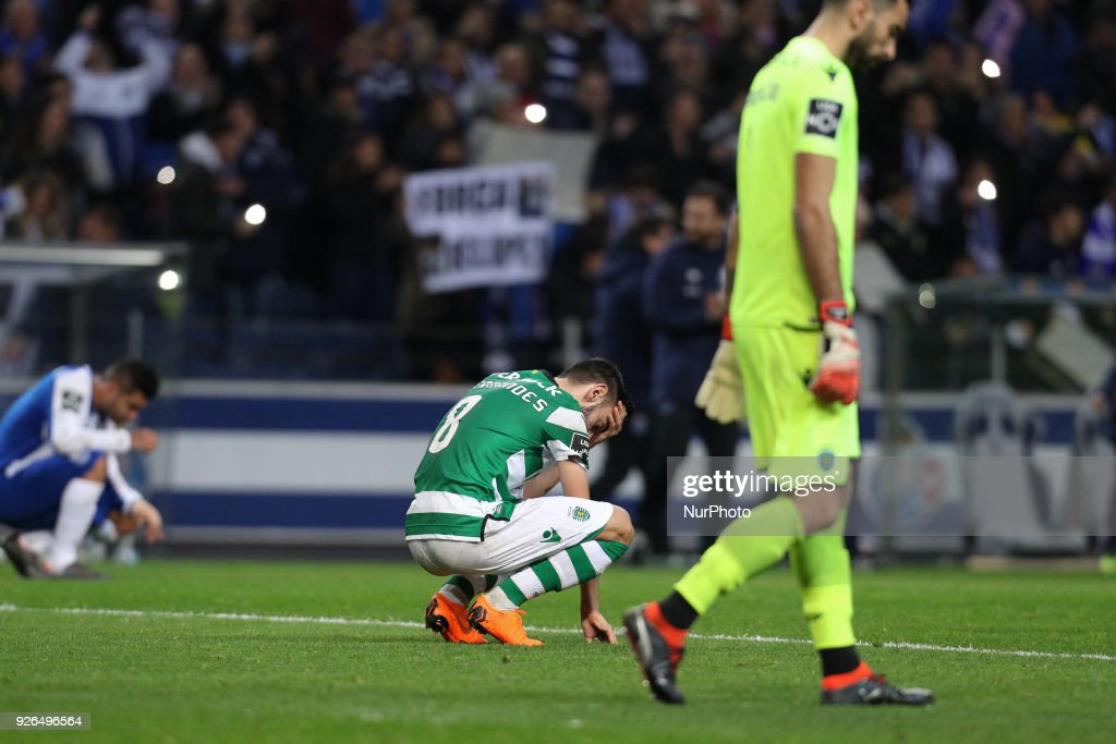 Sporting's Portuguese midfielder Bruno Fernandes (C) reacts after end of the game during the Premier League 2017/18, match between FC Porto and Sporting CP, at Dragao Stadium in Porto on March 2, 2018.