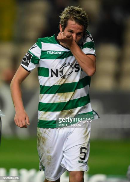 Sporting's Portuguese midfielder Fabio Coentrao celebrates after scoring a goal during the Portuguese league football match between Boavista and...