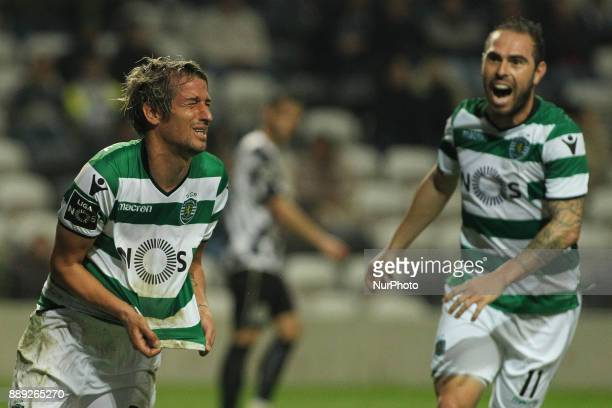 Sporting's Portuguese midfielder Fabio Coentrao celebrates after scoring goal during the Premier League 2017/18 match between Boavista FC and...