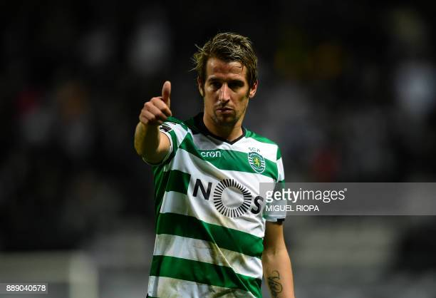 Sporting's Portuguese midfielder Fabio Coentrao gives the thumb up during the Portuguese league football match between Boavista and Sporting Lisbon...