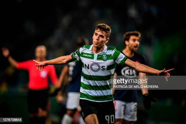 Sporting's Portuguese midfielder Miguel Luis celebrates a goal during the Portuguese League football match between Sporting CP and OS Belenenses at...