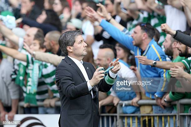 Sporting's President Bruno de Carvalho during the Premier League 2015/16 match between SC Braga and Sporting CP at AXA Stadium in Braga on May 15 2016