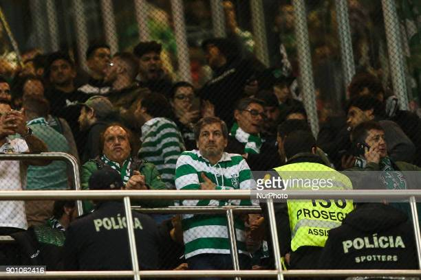 Sporting's president Bruno de Carvalho with supporters during the Premier League 2017/18 match between SL Benfica v Sporting CP at Luz Stadium in...