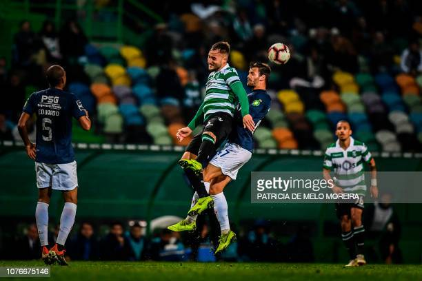 Sporting's Serbian midfielder Nemanja Gudelj vies with Belenenses' Brazilian midfielder Jonatan Lucca during the Portuguese League football match...