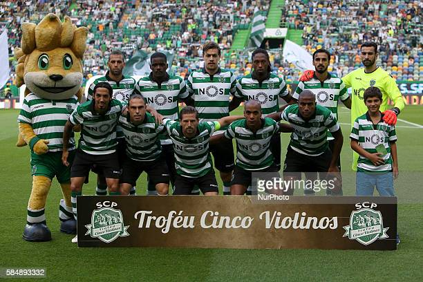 Sporting's starter team before the Trofeu Cinco Violinos football match Sporting CP vs Wolfsburg at the Alvadade stadium in Lisbon Portugal on July...