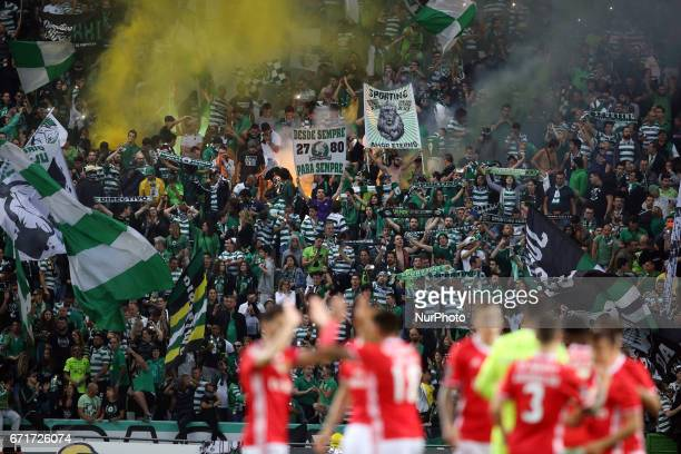 Sporting's supporters during the Portuguese League football match Sporting CP vs SL Benfica at the Alvadade stadium in Lisbon on April 22 2017