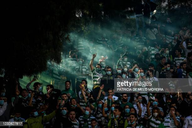 Sporting´s supporters wait for the arrival of the team´s bus before the Portuguese League football match between Sporting Portugal and Boavista at...