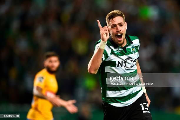 Sporting's Uruguayan defender Sebastian Coates celebrates a goal during the Portuguese league football match Sporting CP vs GD Estoril Praia at the...