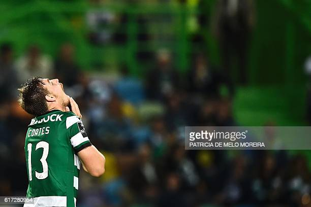 Sporting's Uruguayan defender Sebastian Coates reacts after missing an attempt on goal during the Portuguese league football match Sporting CP vs CD...