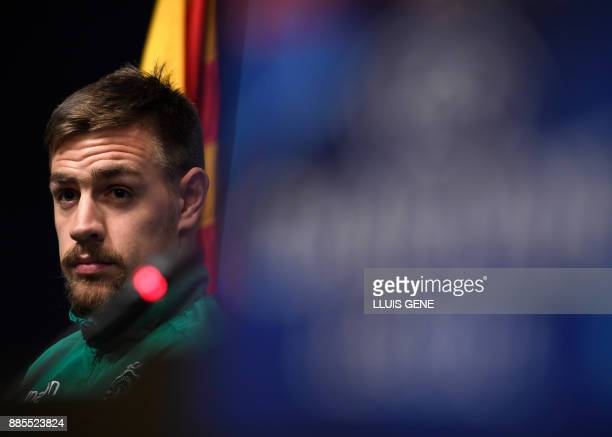 Sporting's Uruguayan defender Sebastien Coates gives a press conference at the Camp Nou stadium in Barcelona on December 4 on the eve of the...