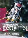 Sportlerin D Ski Alpin in Aktion Abfahrt bei den Olympischen Spielen in Lillehammer 1994