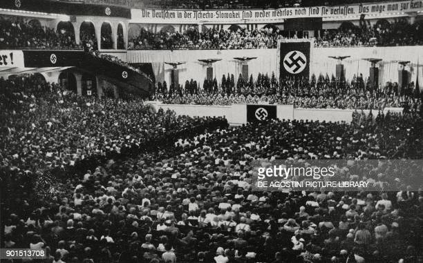 Sportpalast in Berlin during Adolf Hitler's speech September 26 Germany from L'Illustrazione Italiana Year LXV No 40 October 2 1938