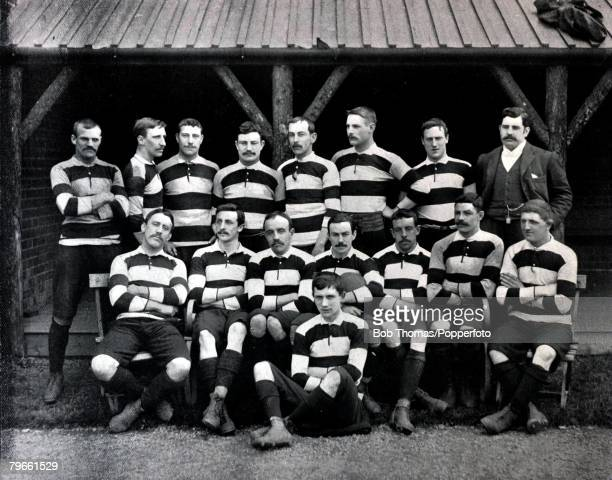 Sport/Rugby Union circa 1896 The Cardiff team pose together for a group photograph Back row lr TDobson JElliot WElsey WPhillips ALewis FMills AMorgan...