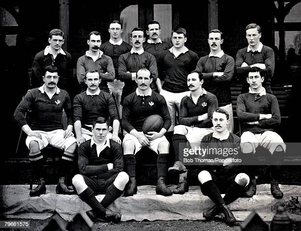 Sport/Rugby Union circa 1896 The London Scottish team pose together for a group photograph Back row lr PHIllingworth JGPaterson Standing lr ACConnell...