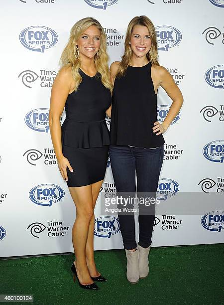 Sports 1 reporters Julie StewartBinks and Jenny Taft arrive at the FOX Sports 1 Women's World Cup Kickoff event at Hangar 8 on December 6 2014 in...