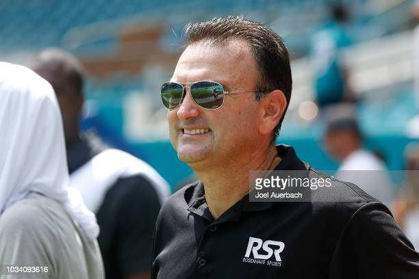 Sports agent Drew Rosenhaus looks on as the Miami Dolphins and the Tennessee Titans warm up prior to an NFL game on September 9, 2018 at Hard Rock...