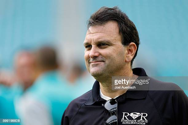 Sports agent Drew Rosenhaus looks on prior to the preseason game between the Miami Dolphins and the Tennessee Titans on September 1, 2016 at Hard...