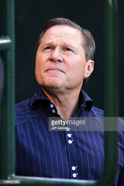 Sports agent Scott Boras attends batting practice before the game between the Kansas City Royals and the Los Angeles Angels of Anaheim at Angel...