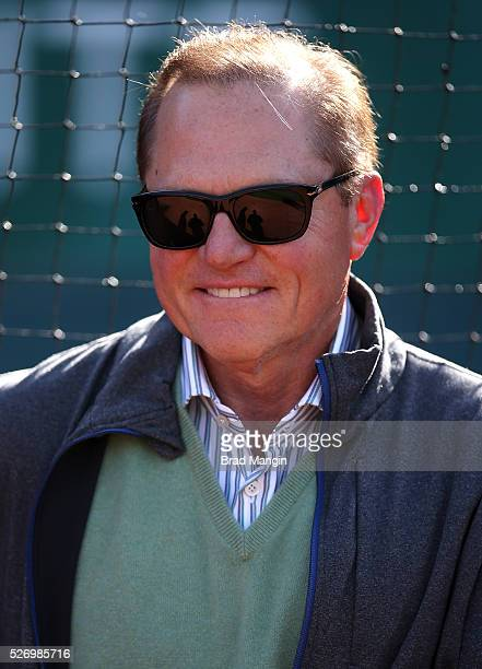 Sports agent Scott Boras watches batting practice before the game between the Houston Astros and Oakland Athletics at the Oakland Coliseum on Friday,...