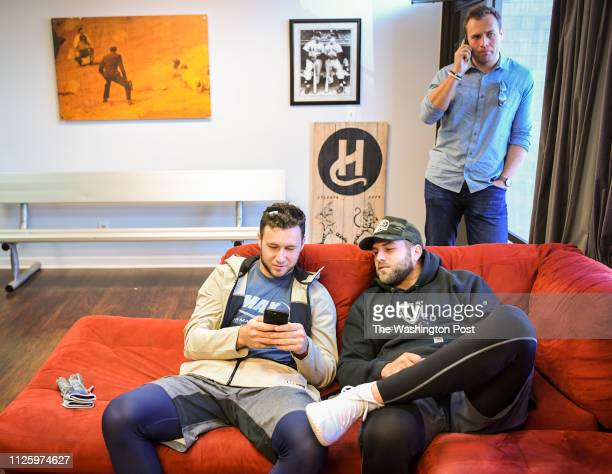 Sports agent Trevor Kieboom works the phone as his clients and brothers Washington Nationals first round pick Carter Kieboom and catcher Spencer...