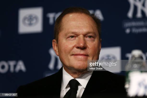 Sports Agents Scott Boras looks on during the New York Yankees press conference to introduce Gerrit Cole at Yankee Stadium on December 18, 2019 in...