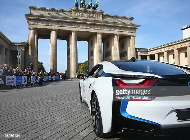 Sports Ambassador Katarina Witt enjoys pure driving pleasure in the Supersportscar BMW i8 Plugin Hybrid during the 41th BMW Berlin Marathon on...