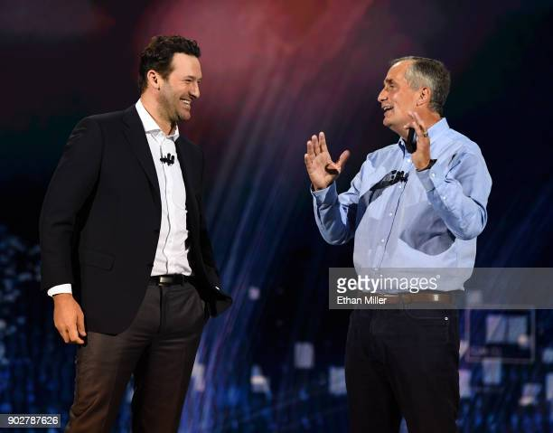 CBS sports analyst Tony Romo and Intel Corp CEO Brian Krzanich talk as Krzanich delivers a keynote address at CES 2018 at Park Theater at Monte Carlo...
